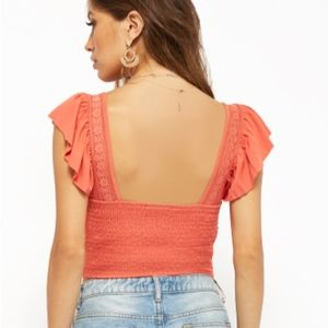 Forever 21 Tops - NWT Flutter Sleeve Crop Top